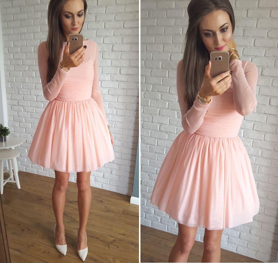aef9801a38 Tulle nude dress   Tiulowa morelowa sukienka Illuminate na wesele ...
