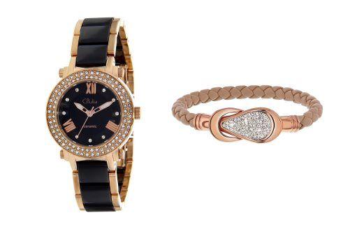 Coffret montre à quartz en céramique et acier et bracelet - Noir et doré rose