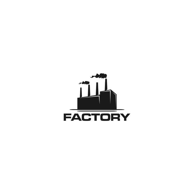Factory Building Logo Factory Logo With Chimney In 2021 Building Logo Real Estate Logo Design Food Logo Design
