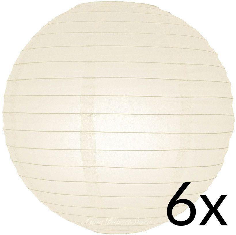 "Ivory Round Paper Lantern 10/"" Beige Hanging Decoration Even Ribbing"