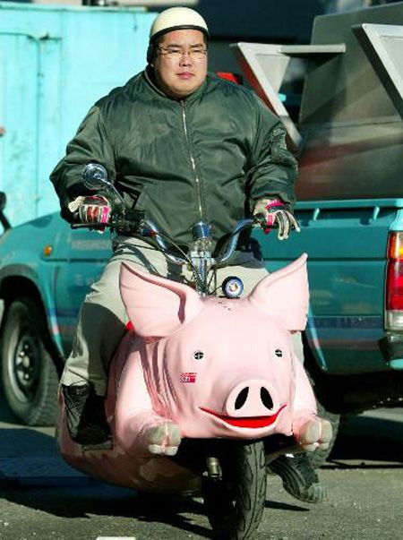 RIDING HIS HOG...
