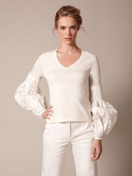 Carolina Herrera Wool Bishop Organza Sleeve Sweater