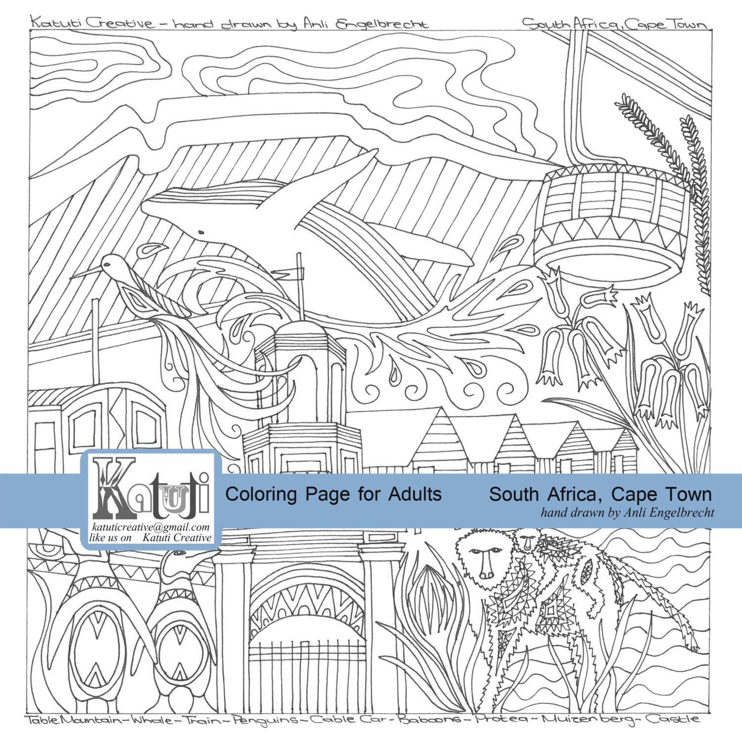 Coloring pages instant download south african city cape town by katutidigital on etsy https
