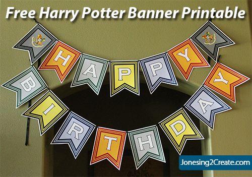 Free Harry Potter Birthday Banner Printable Harry Potter Birthday Harry Potter Birthday Party Harry Potter Banner