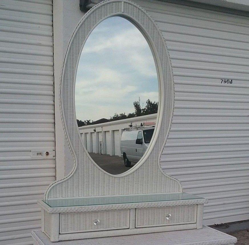 Lexington Wicker Henry Link Mirror Top white Wicker