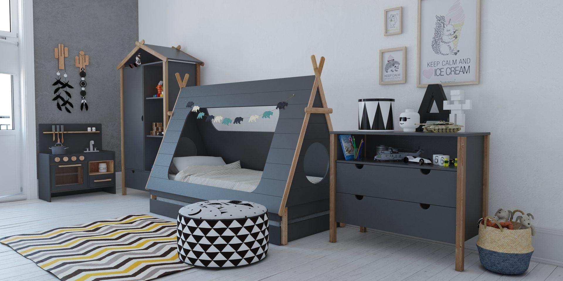 Bln Kids Tipi Bett 90x200cm grau/natur in 2020 Tipi bett