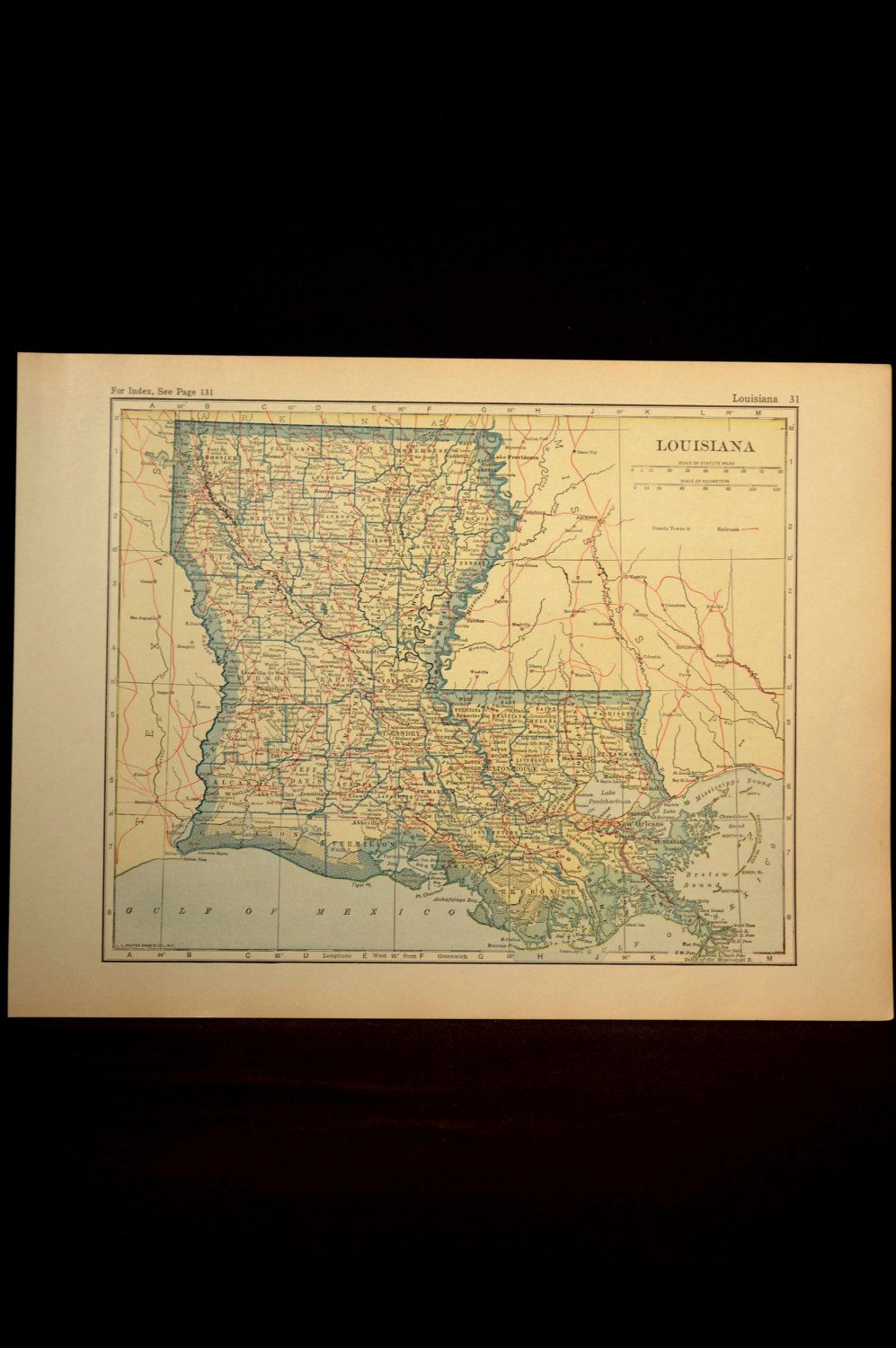 Louisiana Map Louisiana Antique Railroad Yellow 1920s | Map Wall ...