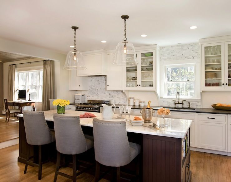 Beautiful Kitchen With Large Clear Glass Bell Jar Pendants Over
