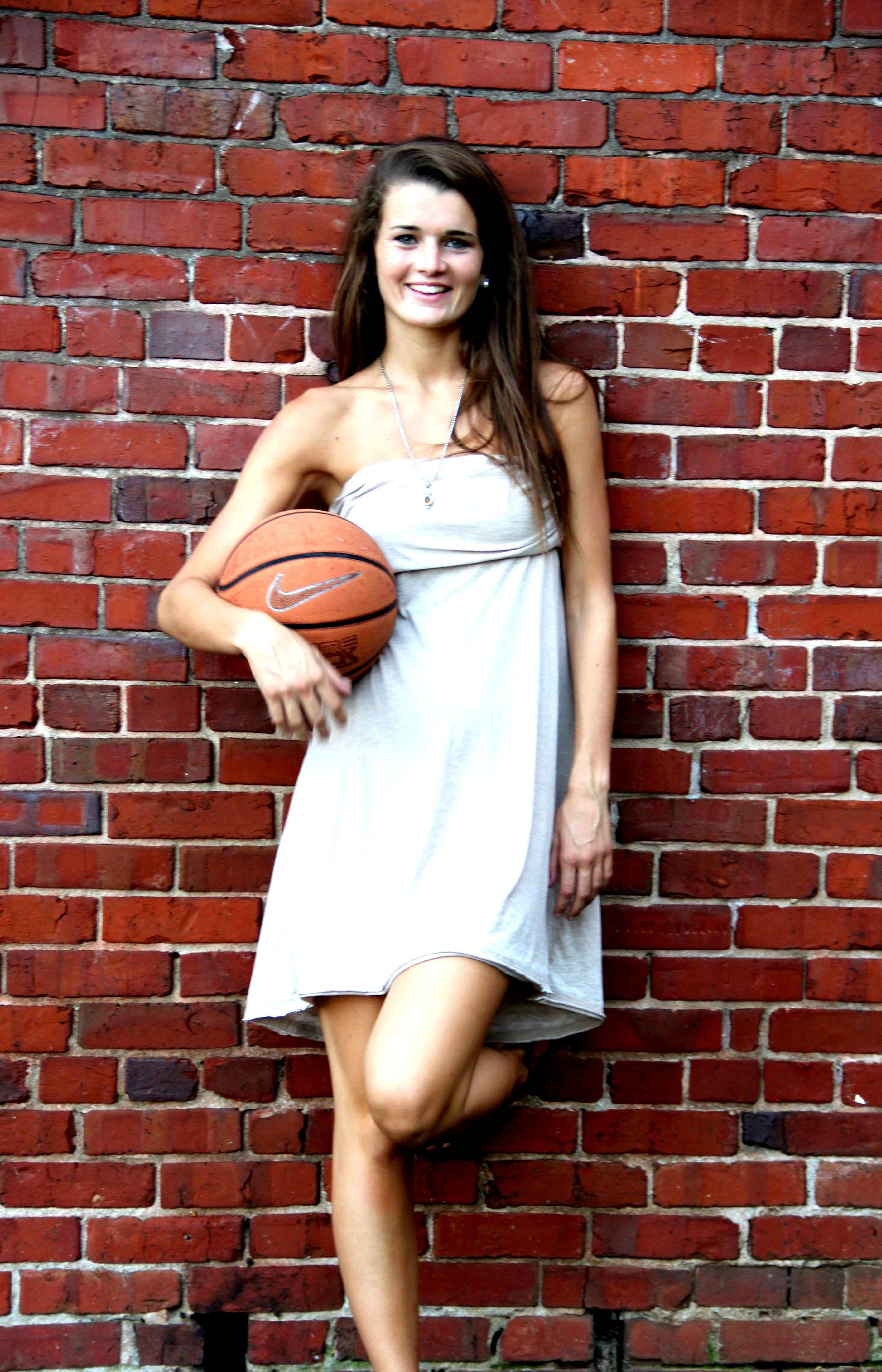 Senior Portrait fun - vintage brick with basketball