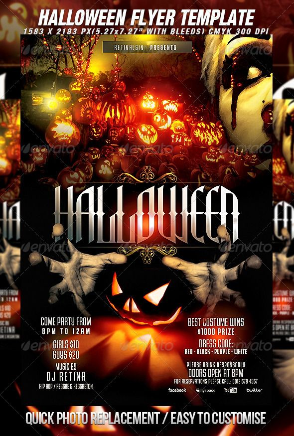 Halloween Flyer Template + Fb Cover Flyer template and Design - zombie flyer template