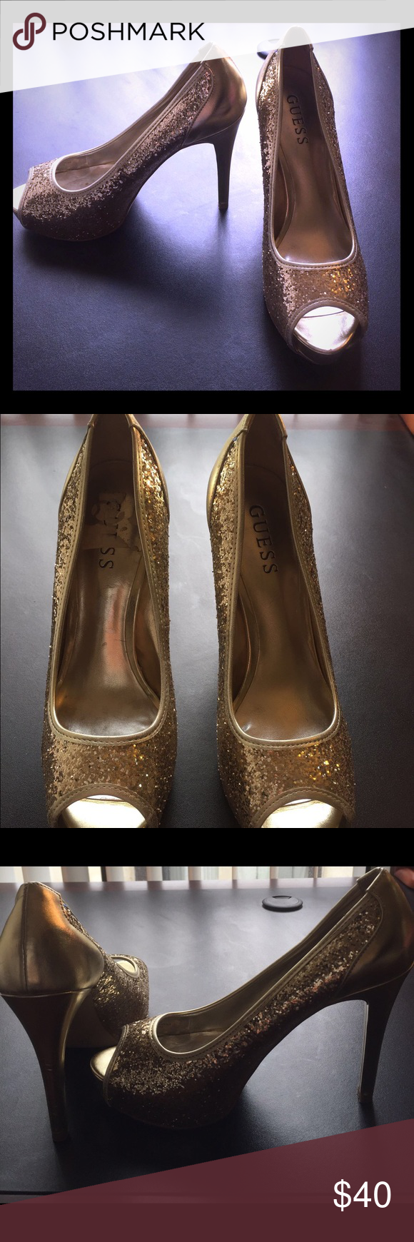 Guess shoes These are Guess, size 6.5, high heel, gold glitter shoes. Worn once or twice. Small scuffs on heels. Guess Shoes Heels