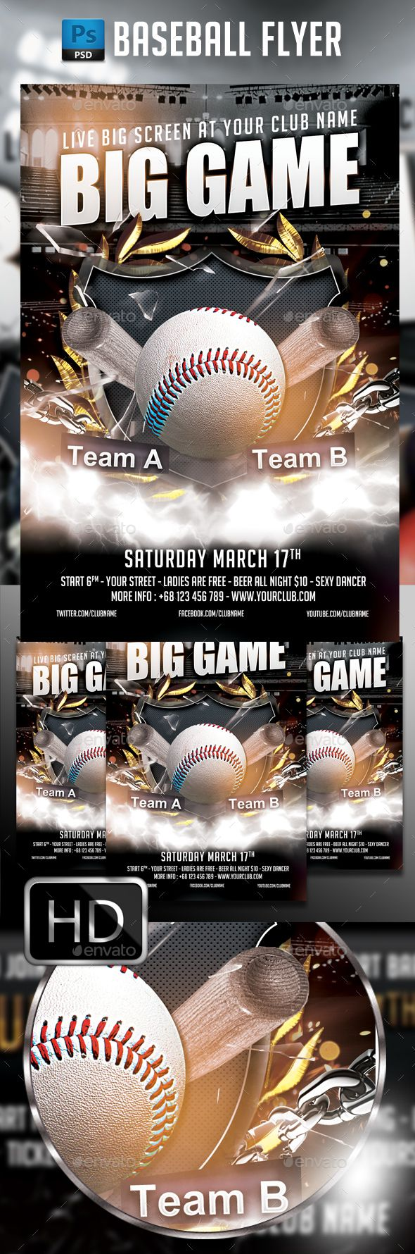 Baseball Flyer Template Sports Clubs And Template