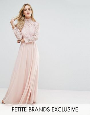 John Zack Petite Allover Lace Top Maxi Dress With Open Back