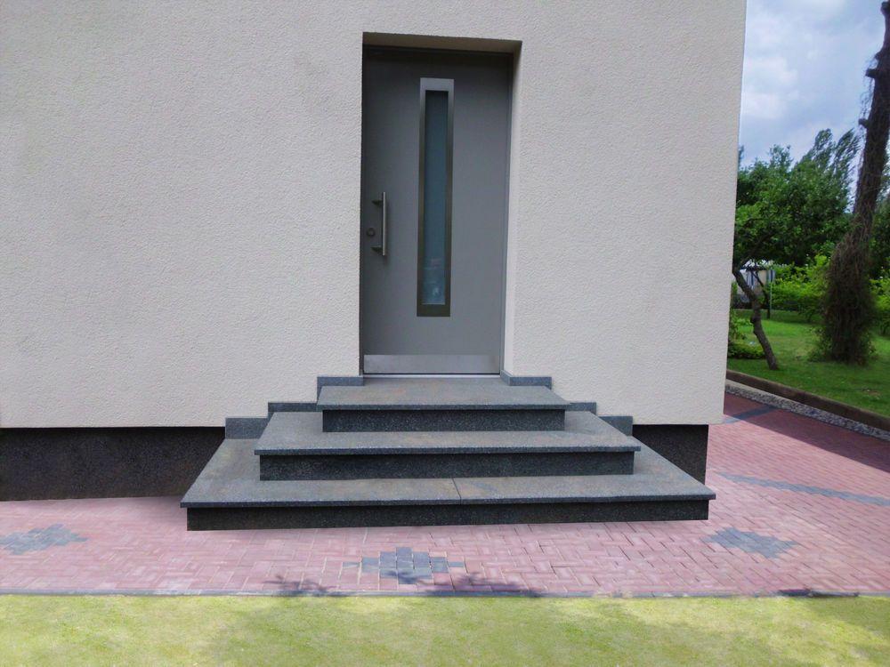 Details Zu Treppe Aussen Haus Eingang Podest Naturstein Granit