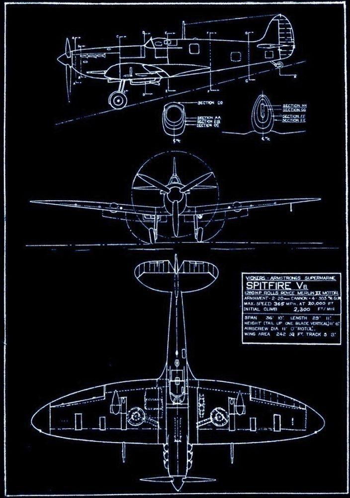 Vickers Armstrong Supermarine Spitfire V6  Fine Blueprint Giclee - copy famous blueprint art