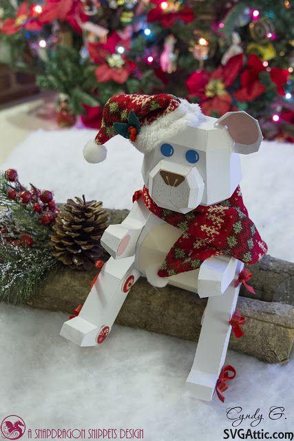 3d christmas teddy bear svg files from svg attic