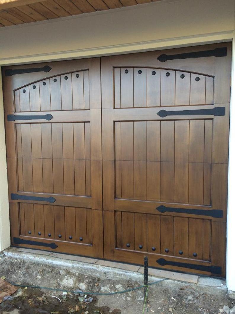 Lafayette Estilo Espanol Custom Wood Garage Door Etsy In 2020 Custom Wood Garage Doors Wood Garage Doors Garage Door Design
