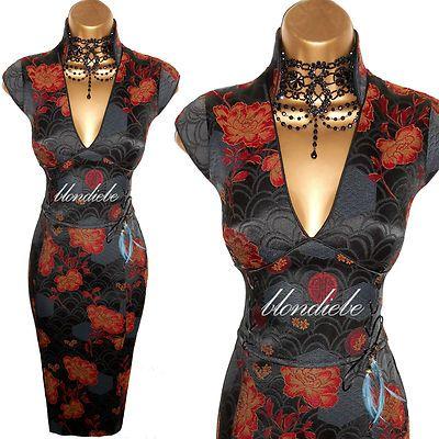 2189bf22759 KAREN MILLEN ♥EXQUISITE♥ DARK GREY ORIENTAL CORSET EVENING DRESS ♥ UK 10