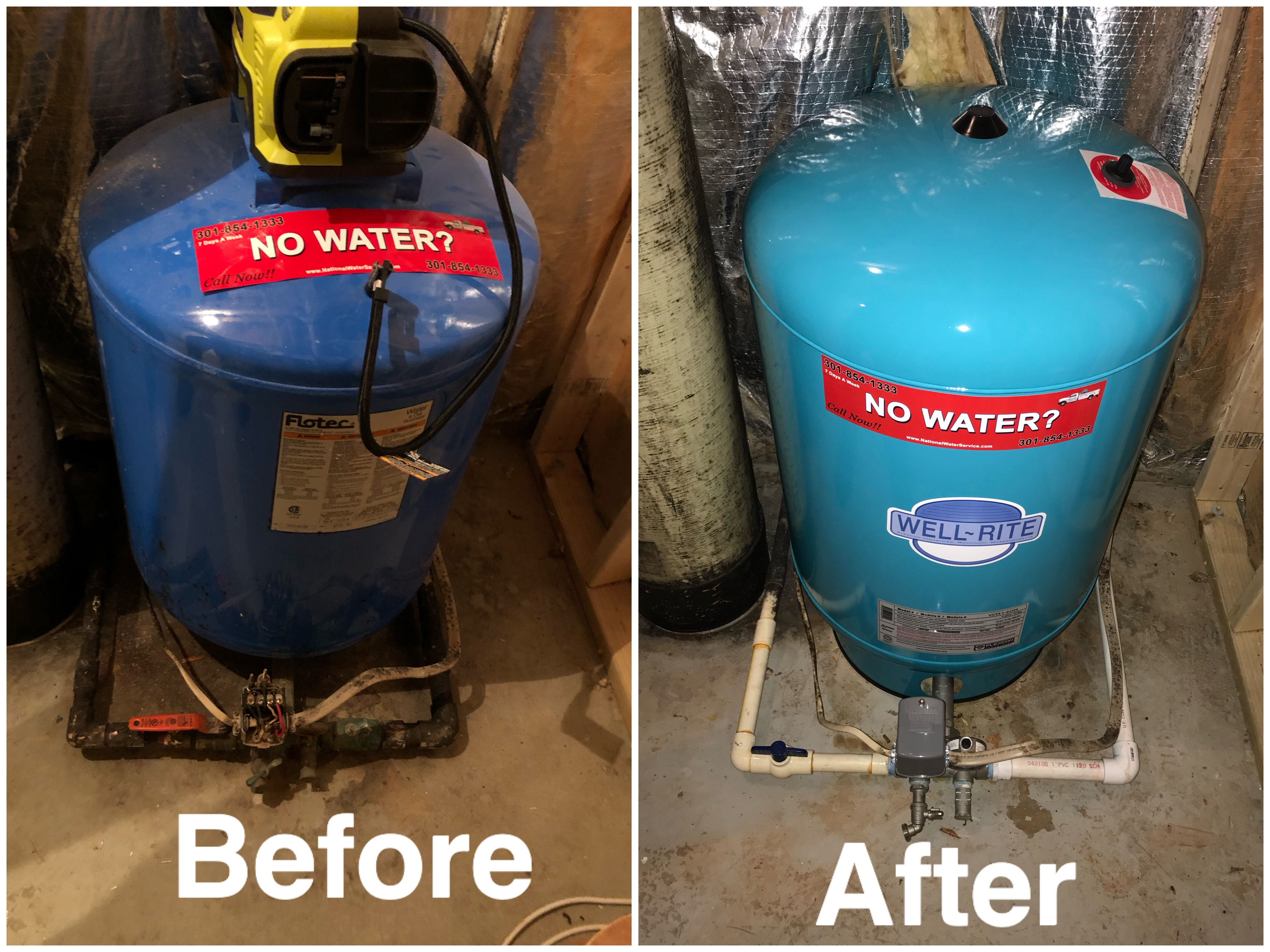 Repair Of The Day Before And After Shot In 2020 Well Pump Water Treatment Pressure Tanks