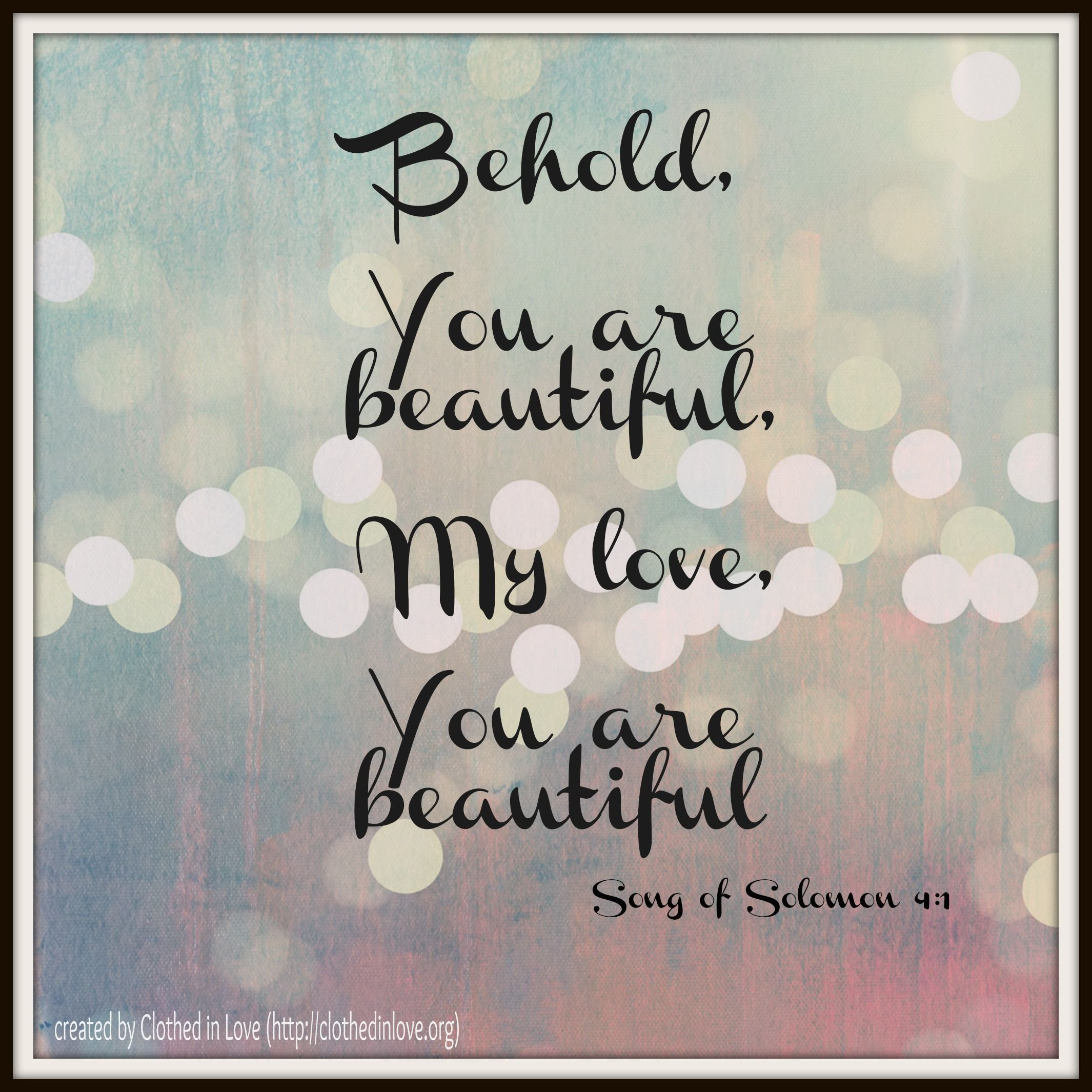 Song of Solomon 4:1 | Quotes | Songs of solomon quotes, Bible