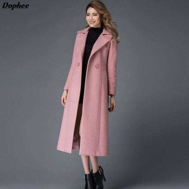 2017 Hiver Nouvelles Femmes De Mode Long Manteau de Laine Mince Tranchée  Manteau Plus La Taille Rose Pardessus De Laine f335ecd04c9