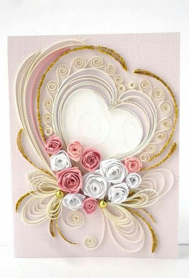 Lovely quilled card quilling pinterest quilling for Quilling heart designs