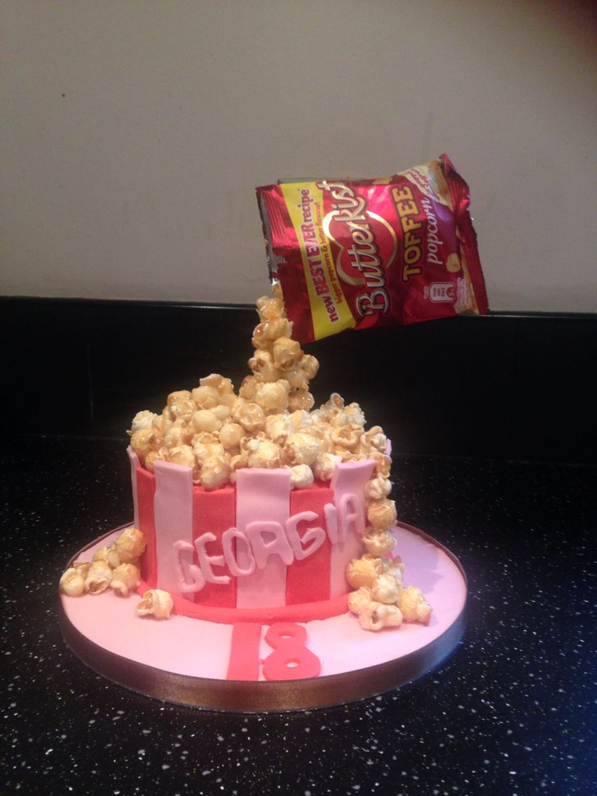 Gravity popcorn cake      chocolate cake with toffee popcorn and
