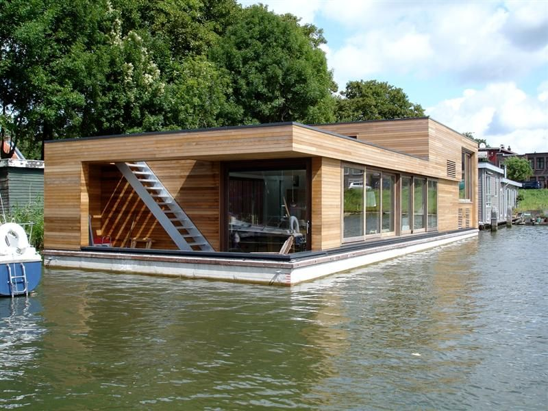 houseboat netherlands wood outerior pinterest haus architektur und bootshaus. Black Bedroom Furniture Sets. Home Design Ideas
