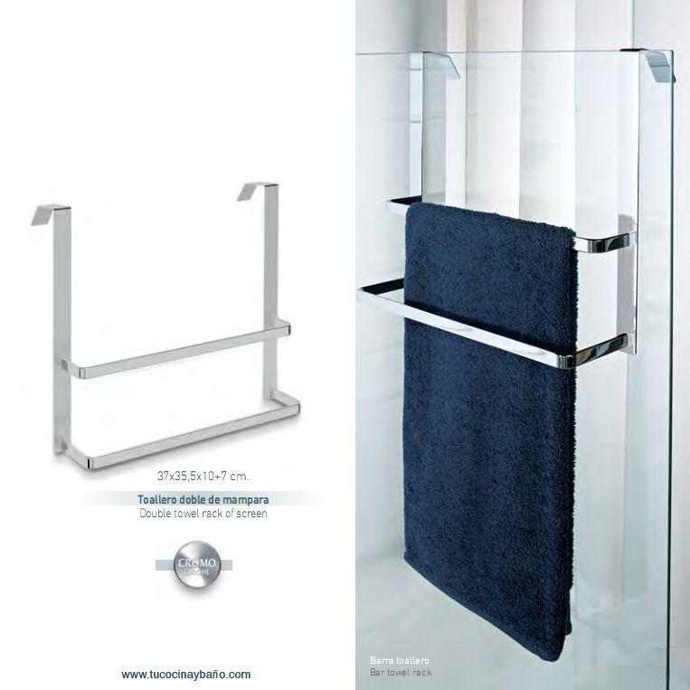 Toallero doble para mampara accesorios ba os pinterest for Colgar toallas ducha