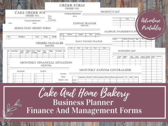 Cake And Bakery Business Planner, Financial and Management Forms - printable order form