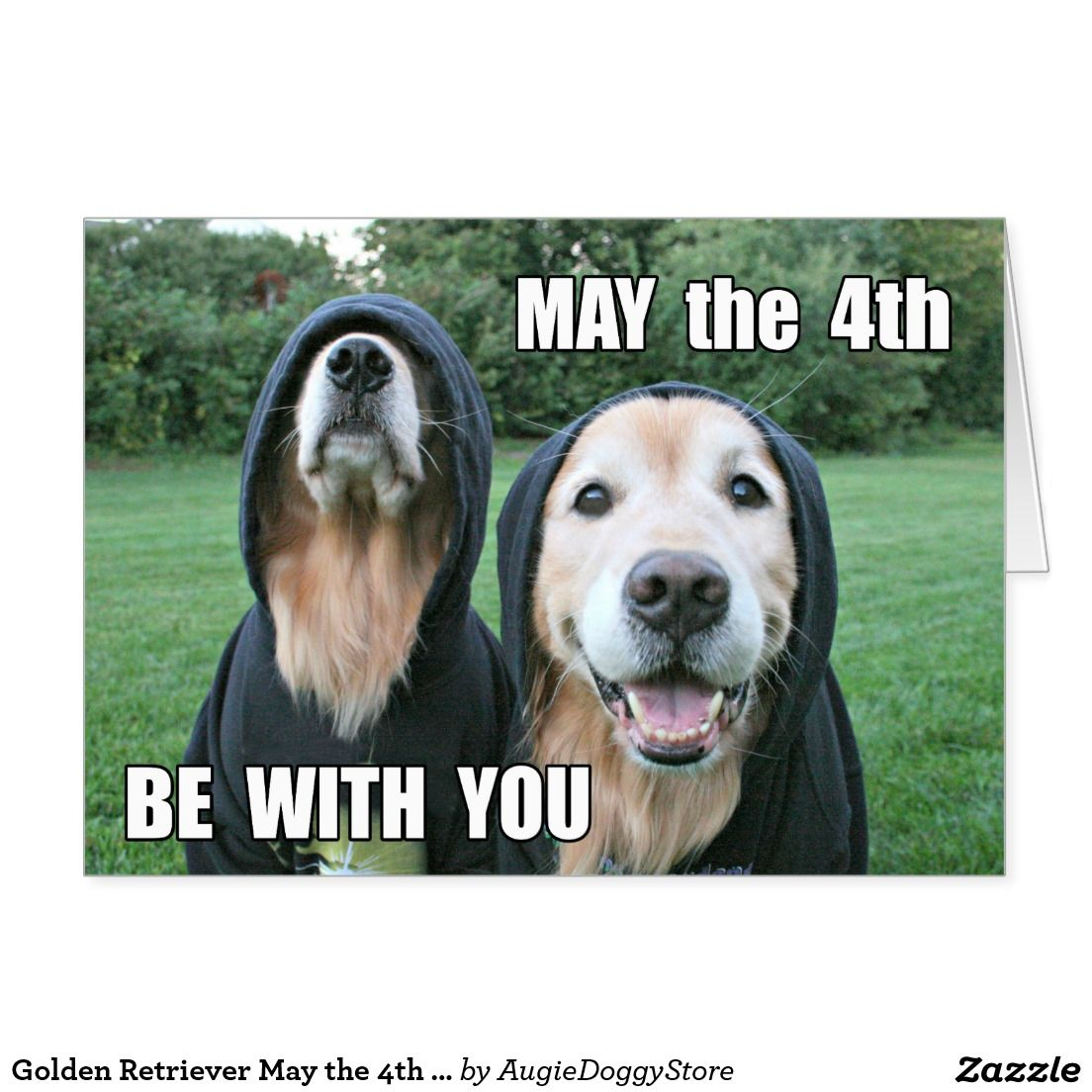 May The 4th Be With You Dog: Golden Retriever May The 4th Be With You Parody Card