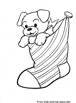 Printable Puppy In Christmas Stockings Coloring Pages Coloring