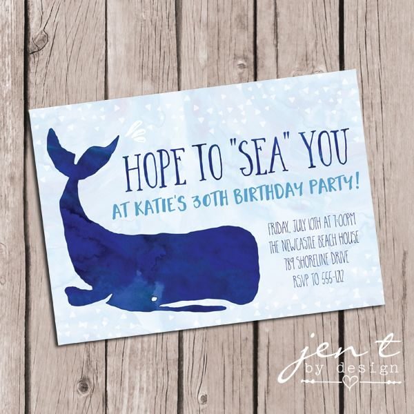 Watercolor Whale Invitations Summer parties Summer and Birthdays