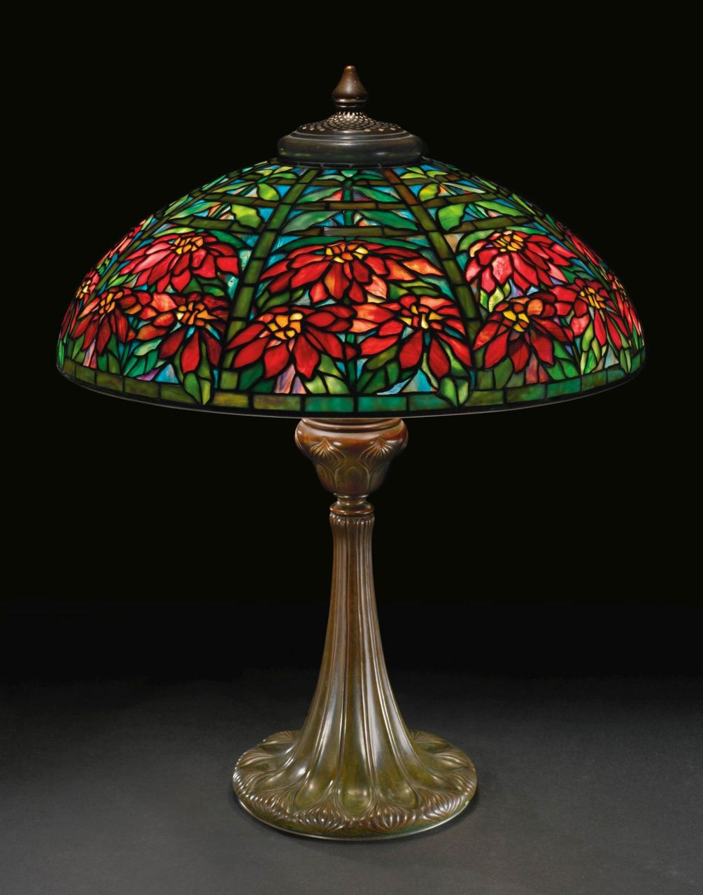 Rare Tiffany Studios Quot Double Poinsettia Quot Table Lamp What