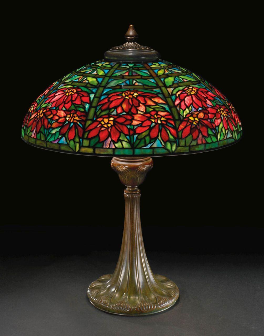 "Rare Tiffany Studios ""Double Poinsettia"" table lamp. What ..."