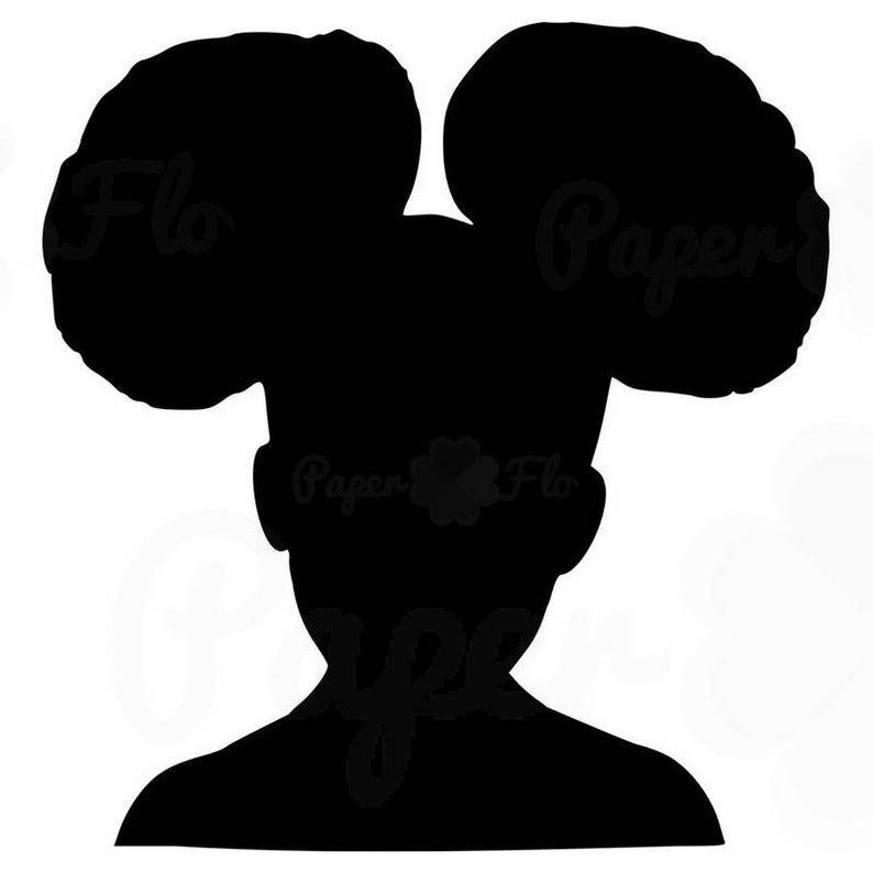 Girl afro puffs svg silhouette clip art black girl afro