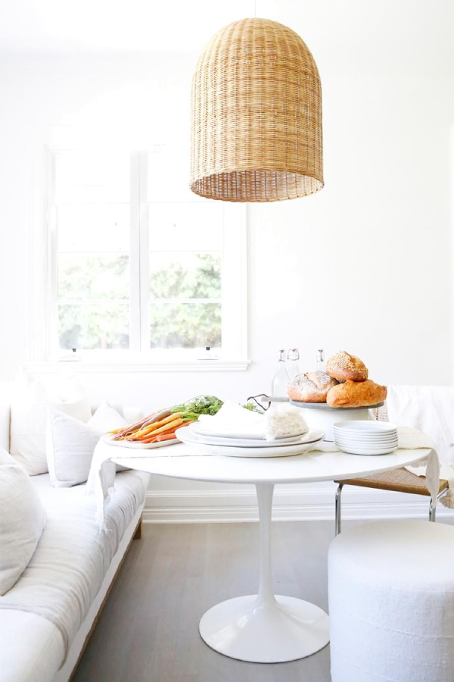 Whitewashed With A Pop Of Natural Elements | Santa Barbara Pendant Via  Serena U0026 Lily | · Kitchen Breakfast NooksKitchen TablesKitchen ...