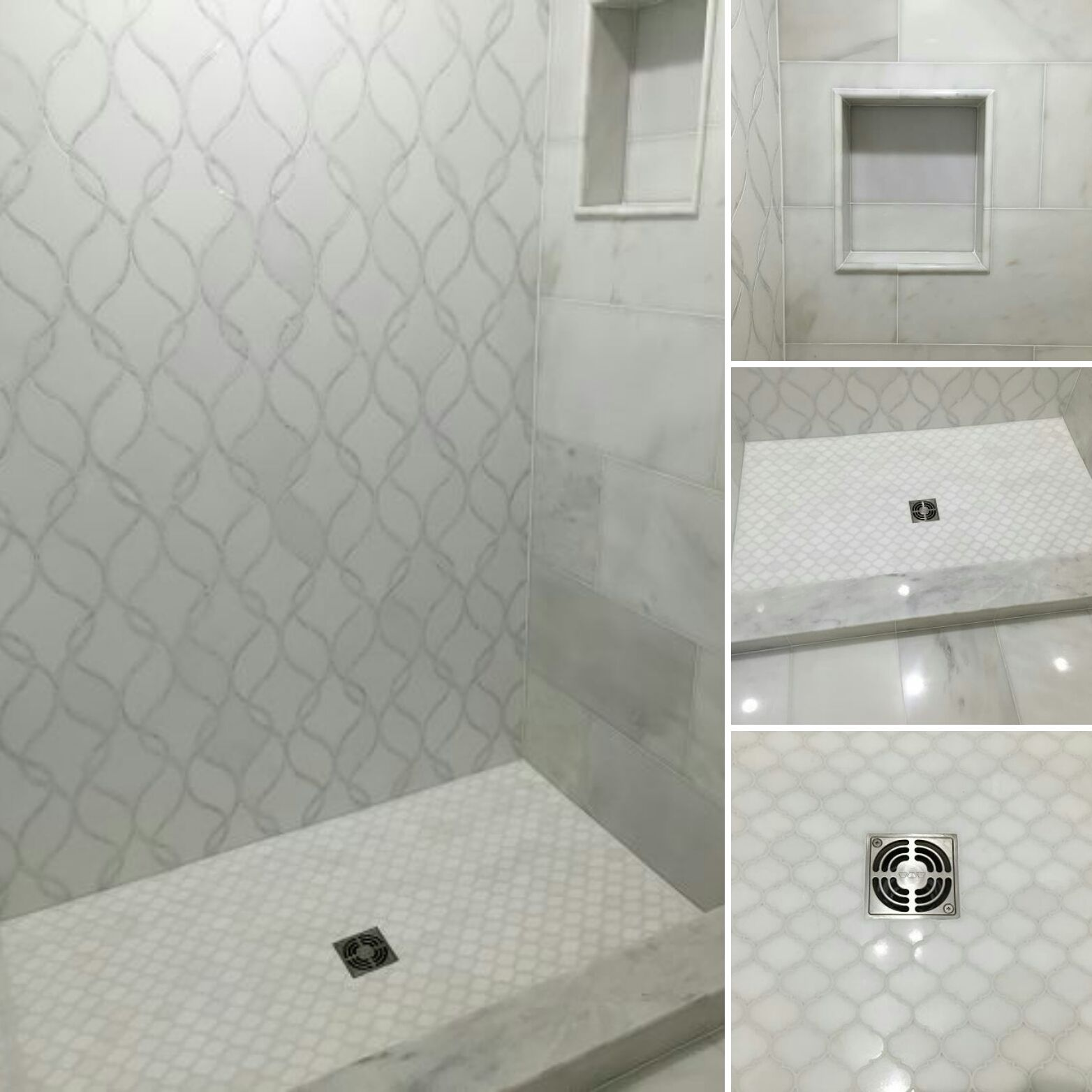 Artistic Tile I Claridges Mosaic In Thos And Rivershell On Back Wall Pacific White Field With Shower Niche Arabesque Etoile Waterjet