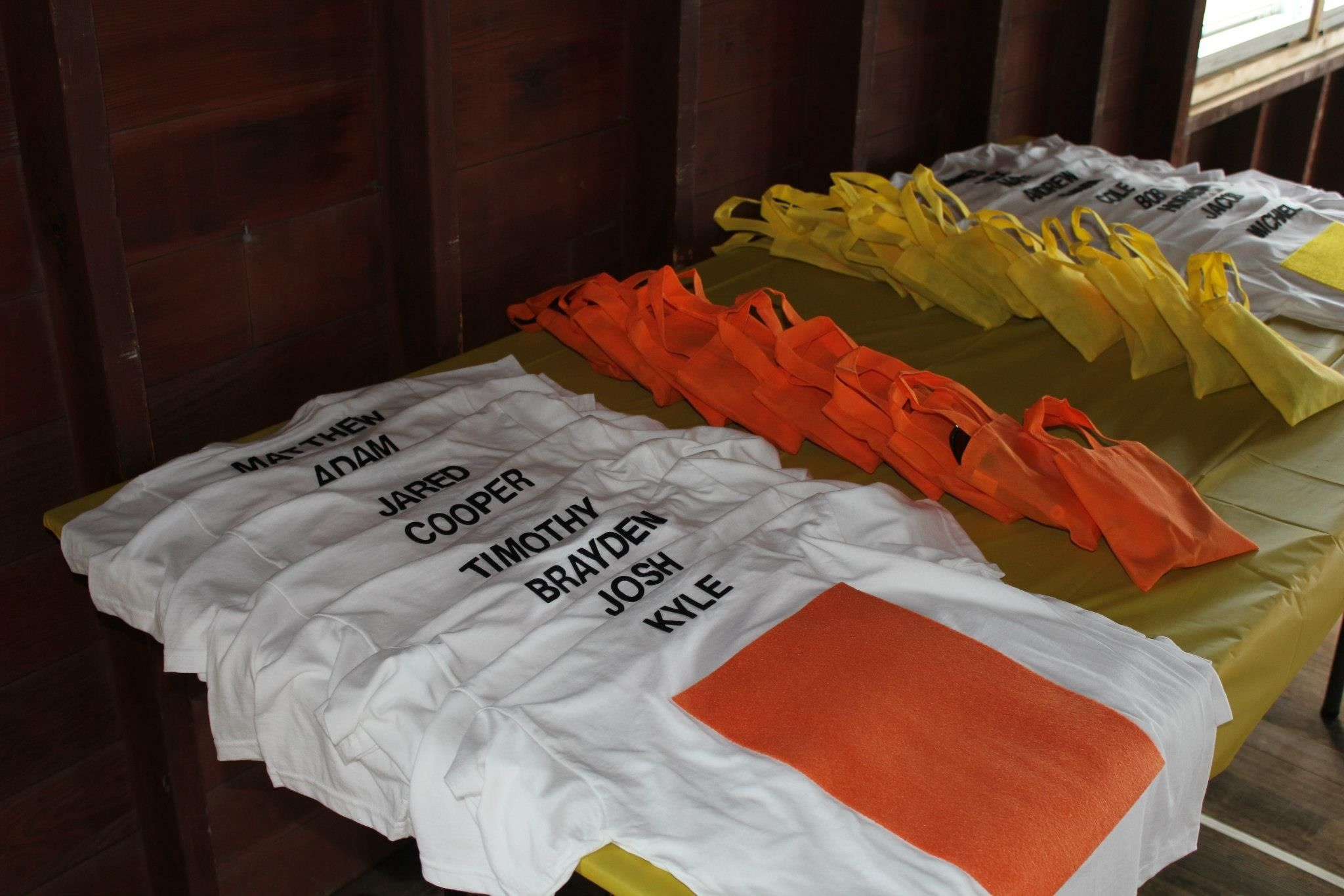 T-Shirts with self sticking felt for the nerf wars.