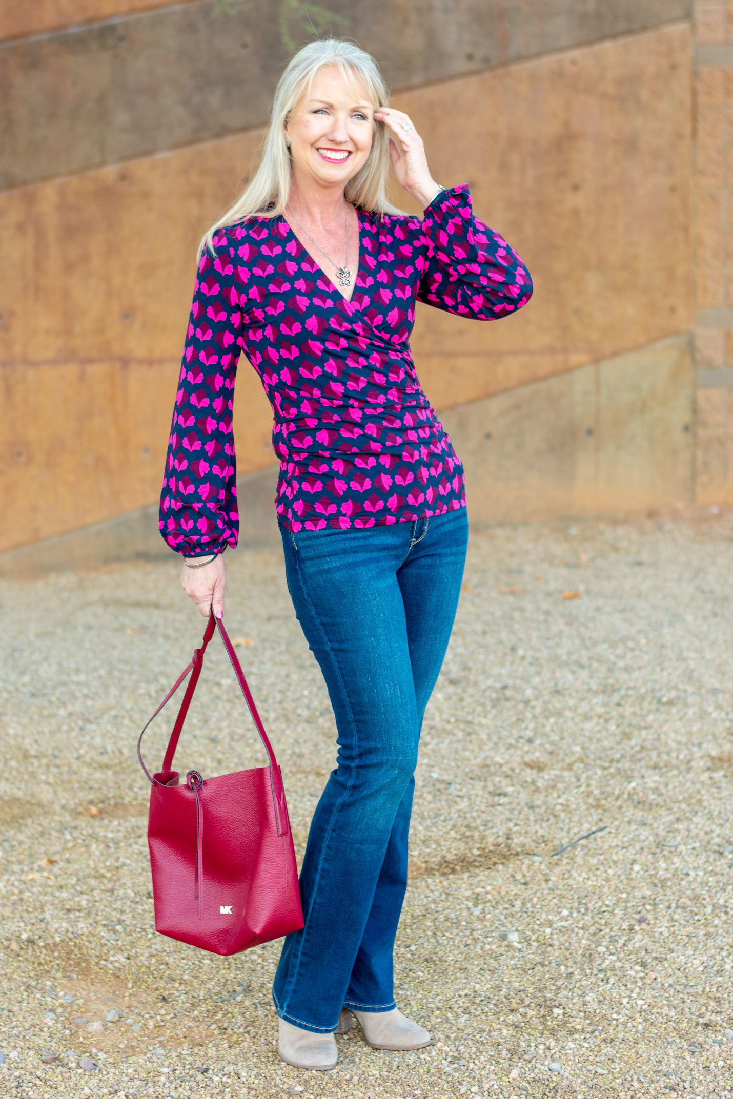 Ruched Wrap Top + Bootcut Jeans - easy and beautiful fashion for women over 40 | Womens fashion ...