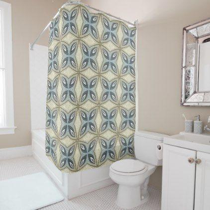 Beige Brown Gray Blue Hip Ornate Art Motif Shower Curtain