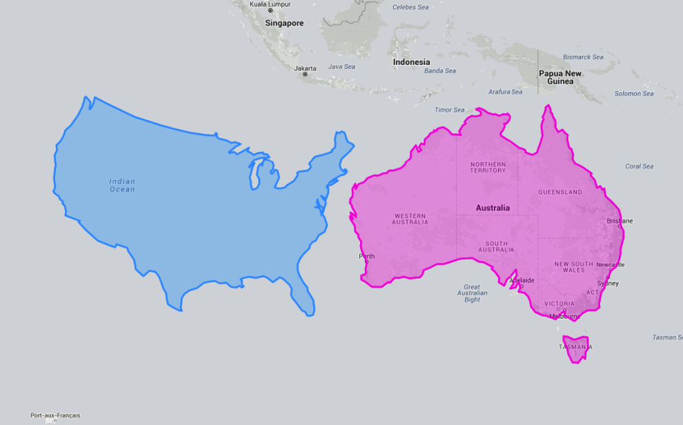 Things really get crazy when you move the US minus Alaska and