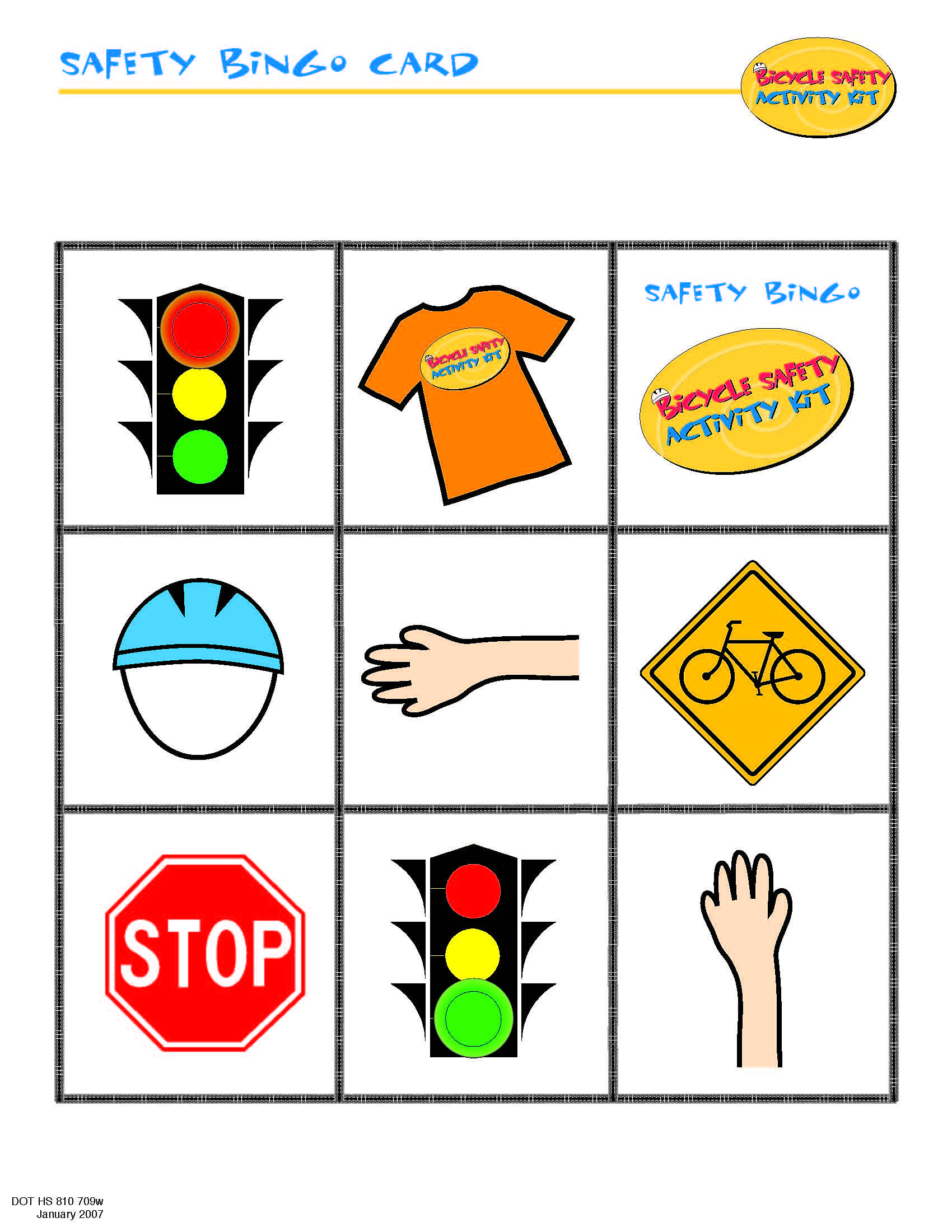 Bike Safety Bingo Card