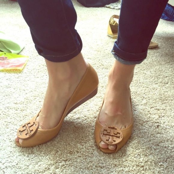 Tory Burch peep toe kitten wedge REPOSH Sadly reposhing these beauties! Posher said they were 6.5 but fit more like a 7. Minor wear and scuffs. Will post more pictures soon. Will trade ❤️ Tory Burch Shoes Wedges