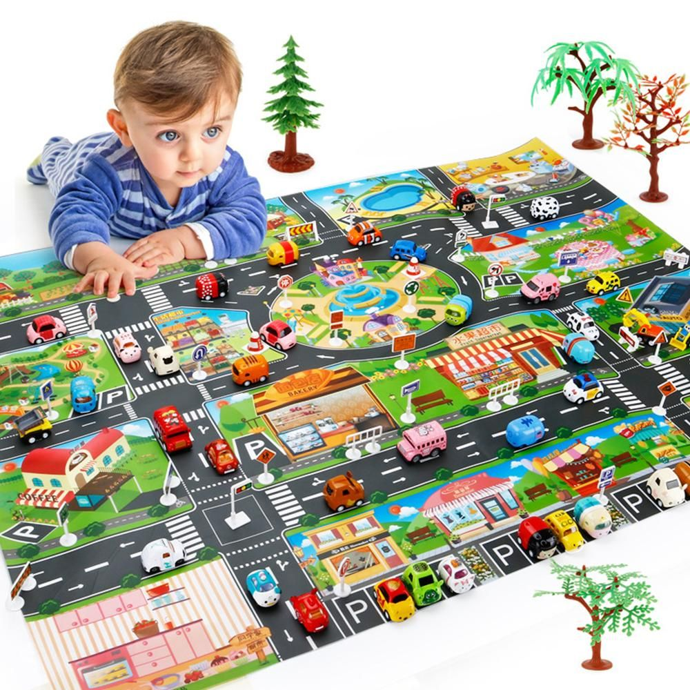 Kids Map Educational Toys Toy Car Map children Play Mat Road Buildings Kid Game