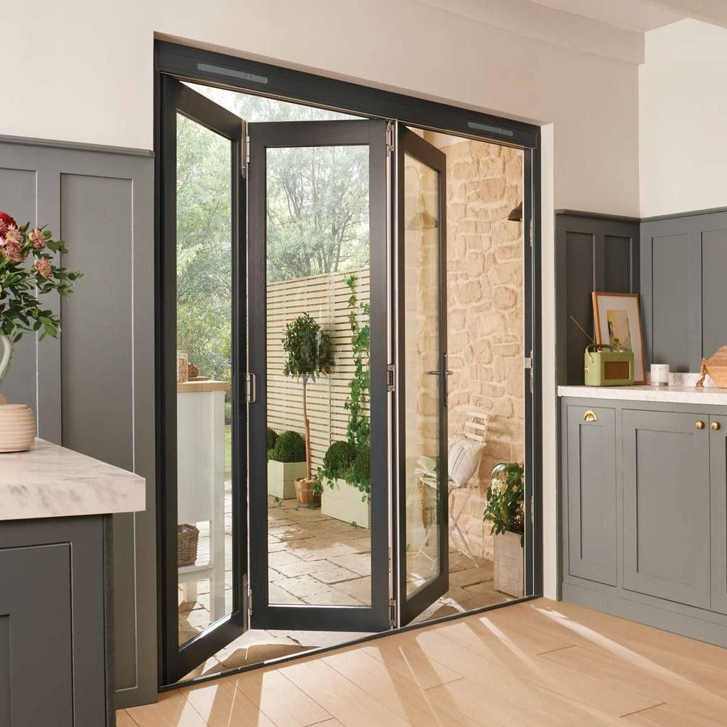 Jeldwen Bedgebury Grey 3 0 Folding Patio Doorset Clear Double Glazing Fully Finished Bifold Patio Doors Folding Patio Doors Bifold Doors Onto Patio