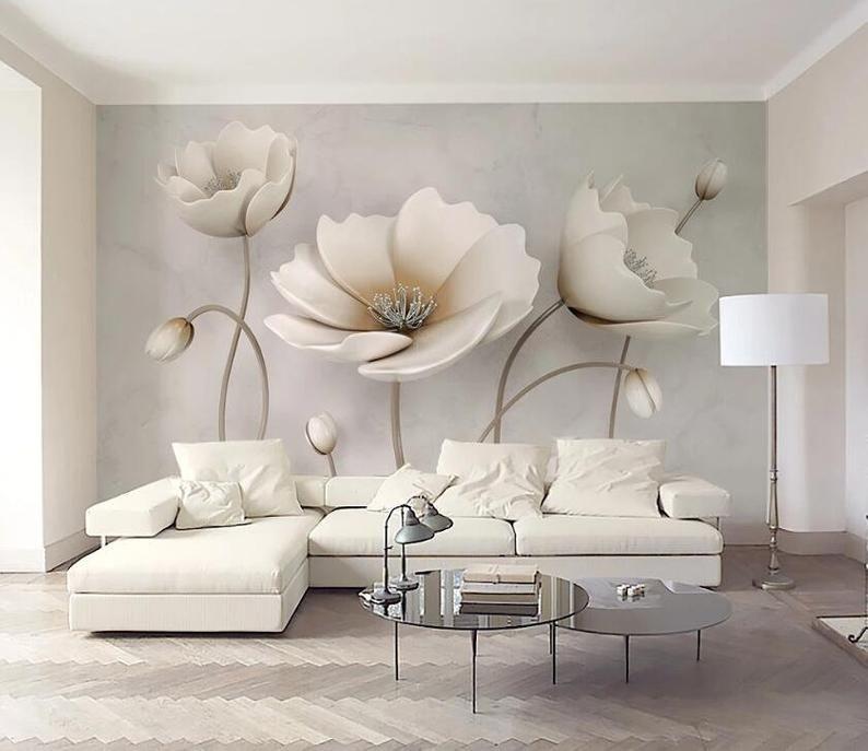 3d Elegant Flowers Gngn420 Wallpaper Mural Decal Mural Photo Etsy In 2021 Living Room Murals Living Room Modern Wallpaper Living Room