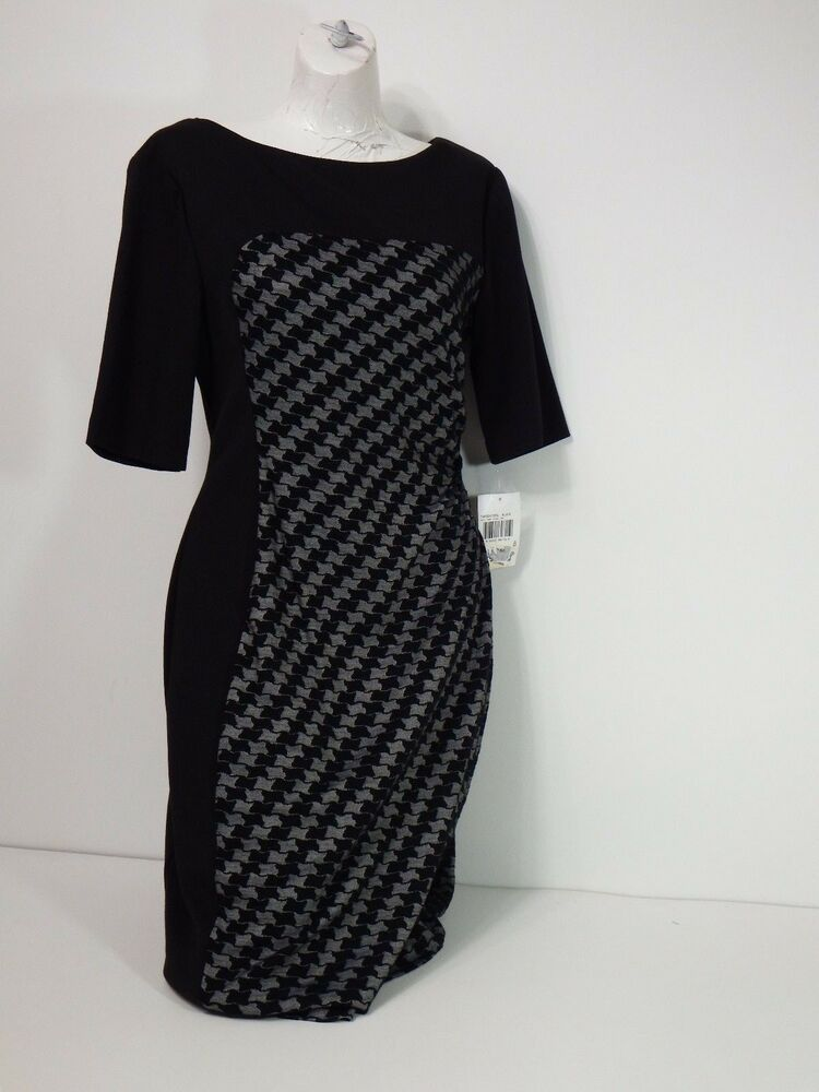 Dress Connected Apparel Dress Black & Gray 3/4 Sleeves Casual Sz 8