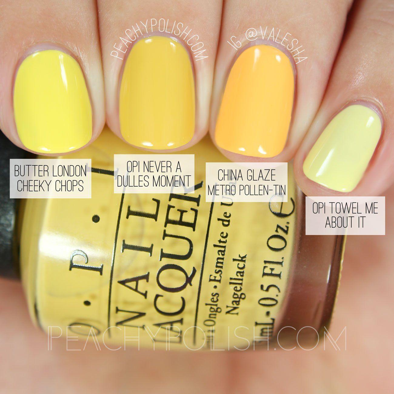 Opi Comparisons Washington D C Collection Yellow Nails Nail
