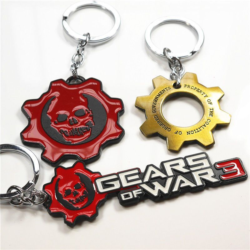 Gears of War 3 Metal Skull Logo Keychain